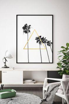 Black White Gold Printable, Black White Gold Print Wall Art, Tropical Leaf Print, Tropical Leaf Printable, Home Decor, Palm Leaf Print, Art