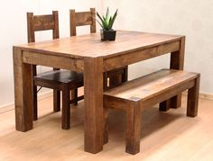 Rustic Farm Style Solid Indian Mango 120x90cm Table Set with 2 Chairs a 100cm Bench The table and bench will normally arrive with their legs removed