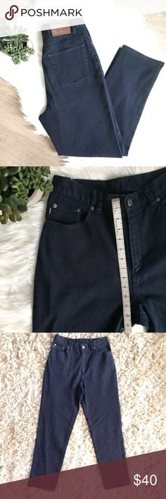 Ralph Lauren High Waisted Tapered Mom Jeans Navy Vintage Lauren Jeans Co (by Ralph Lauren) 90s High Waisted Tapered Mom Jeans in Navy  Great condition! No major flaws or stains  Size 8  Zip Fly Inseam is about 28.5 in Rise is about 12 in Waist (flat) about 13.5 in Tapered leg with side slits (would look great rolled up, too!) Logo tag on front change pocket Authentic Leather Lauren Jeans Co patch on back belt loop  High quality! Not thin at all, real denim!  Smoke/Pet Free Home   Bundle and…