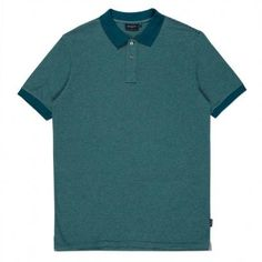 Men's regular-fit teal polo shirt, constructed from soft 100% cotton-jersey with a tonal stripe throughout.
