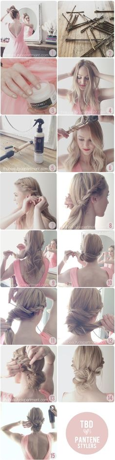 Twist & braid hairstyle. Since my hair is very thin, wonder if I could fake it with braided hair pieces... Hmmm... nice one