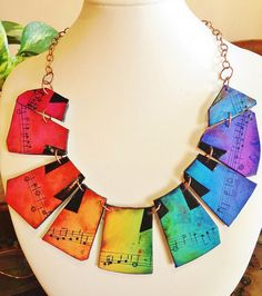 """Cecilia Leonini - Polymer clay, music necklace """"Over The Rainbow..."""""""