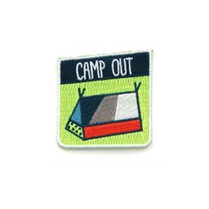 """- Made in California - 2 1/4"""" tall x 2 1/8"""" wide - Iron-on backing Are you an avid camper? Would you consider yourself an outdoorsy type of person? Do you own a tent? Then this patch is for you!! Snag"""
