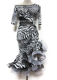 Professional adult Latin dance one-piece dress black and white zebra print fishnet skirt medium-long US $98.90