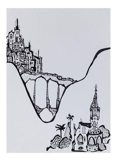 """Viaduto"",  Caneta sobre papel, 42 x 30 cm, 2014"