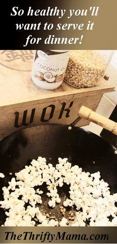 making popcorn in a wok
