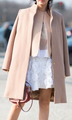 Blush + white, blush top, white skirt, outfit