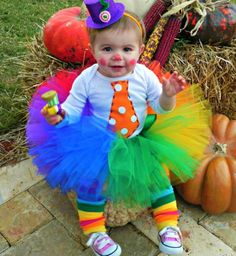 JUST CLOWNIN' AROUND! #SocialblissStyle #baby #clown #tutu #rainbow #Halloween #costume
