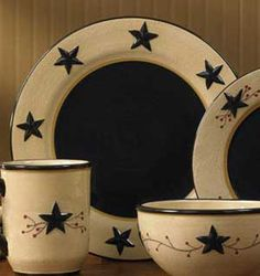 By Park Designs, Star Vine is the replacement from the incredibly popular Black Star - and we just LOVE it! Primitive Plates, Primitive Homes, Primitive Kitchen, Country Primitive, Country Kitchen, Primitive Decor, Primitive Stars, Primitive Pillows, Primitive Painting