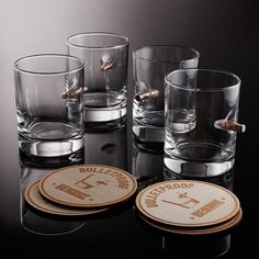 BenShot Original Rocks Glass Set (4 Glasses + 4 Wooden Coasters)