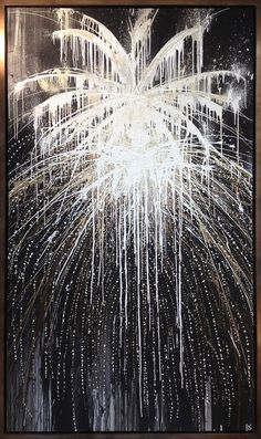 'The Spring's Fireworks' Oil & Acrylic on Canvas in Bronze Finish Tray Frame Black And White Picture Wall, Black And White Painting, Black And White Pictures, Fireworks Pictures, Fireworks Art, Fireworks Displays, Firework Painting, Light Painting, New Year Pictures