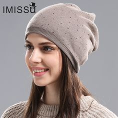 IMISSU Women s Winter Hat Knitted Wool Beanie Female Fashion Skullies  Casual Outdoor Mask Ski Caps Thick a6986cd6cc7b