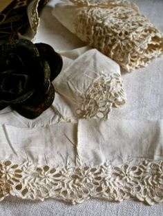 Old broderie anglaise lace from BrocanteArt