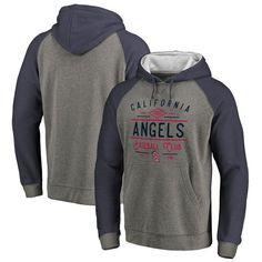 14e559fe2 Los Angeles Angels Fanatics Branded Cooperstown Collection Doubleday  Tri-Blend Raglan Pullover Hoodie - Ash