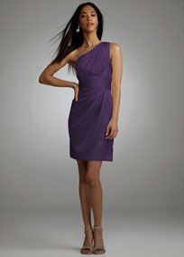 This one shoulder satin dress is modern and chic, perfect the fashion-forward bridesmaid.  One shoulder bodice is on trend and pleated detail adds a fresh update.  Ruched waist is flattering on any figure.  Slim skirt features draping detail for added dimension.  Fully lined. Back zip. Imported polyester. Hand wash or dry clean.  Select colors are on sale. Please click color and size to view pricing