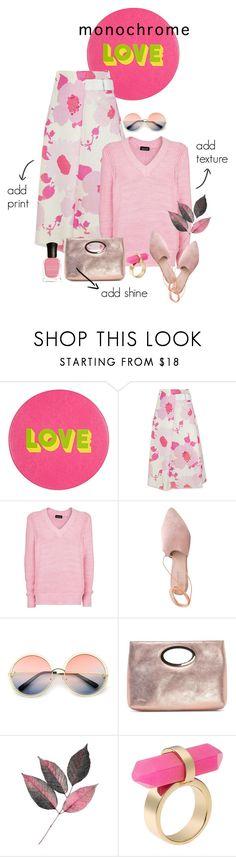 """All Pink"" by minnieromanovich ❤ liked on Polyvore featuring Lisa Perry, Victoria Beckham, Topshop, Summit, ZeroUV, Donald J Pliner, Michael Kors, Deborah Lippmann and monochromepink"