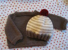 Hand Knit Baby Sweater and Hat Set by firstsnowflake on Etsy. Now that's some serious cuteness happening!