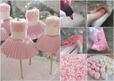 Charming ballerinas made from marshmallows.  See more first girl birthday party ideas at www.one-stop-party-ideas.com
