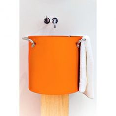 Nito by sopha Industries Bathroom Sink Design, Modern Bathroom Sink, Bathroom Sinks, Orange Design, Orange Is The New Black, Industrial, Interiors, Decoration, Home Decor