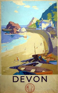 Item Of Interest - Sold / Posters - Travel - Devon GWR Frank Sherwin UK / / Travel Posters / Frank Sherwin / Original vintage rail - Posters Uk, Train Posters, Railway Posters, Vintage Travel Posters, Poster Prints, Art Deco Posters, Retro Posters, Cool Posters, Movie Posters