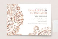 """Modern Mehndi"" - Modern Wedding Invitations in Gold by Laura Condouris."