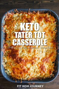 A well-loved favorite growing up, my Keto Tater Tot casserole takes all of those childhood flavors and makes them keto-friendly and low carb! [for KETO, sub. KETO cream of mushroom soup! Tater Tot Casserole, Keto Casserole, Tater Tots, Casserole Recipes, Loaded Cauliflower Casserole, Cheeseburger Casserole, Keto Cauliflower, Low Carb Keto, Low Carb Recipes