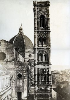 Old photo of the Duomo and Giotto's Campanile. Florence, before Historical Monuments, Historical Art, Siena, Catania, Verona, Palermo, Renaissance, Vintage Italy, History Of Photography