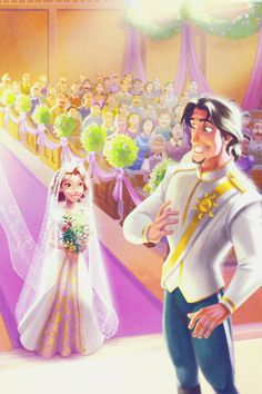 Rapunzel and Eugene wedding Disney Pixar, Arte Disney, Disney Fan Art, Disney And Dreamworks, Disney Movies, Disney Magic, Disney Characters, Disney Stuff, Fictional Characters