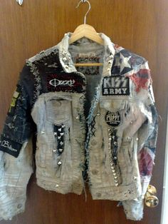 distressed white punk rob zombie jacket by trioxin1331 on etsy.
