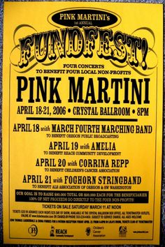Pink Martini - Portland, Oregon 2006 Music Posters, Concert Posters, March Fourth Marching Band, Pink Martini, Portland Oregon, Gig Poster