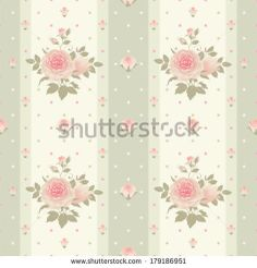 Vector polka dots striped pattern with climbing roses Seamless floral background