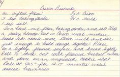 Handwritten Recipe For Crisco Biscuits