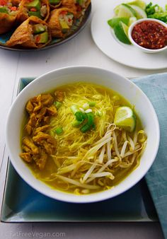 """Javanese-Inspired """"Chicken"""" Soup (Vegan Soto Ayam) from Susan Voison's blog Fat Free Vegan Kitchen. Even though I don't cook fat-free and am vegetarian, not vegan, I find her recipes a great inspiration to recipes that are healthy and delicious.  by Susan Voisin on February 27, 2012"""