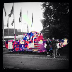 Extreme knitting !! The d-day museums tank covered in handcrafted knitted patchwork , special addition for Victorious festival