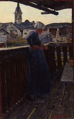 Giovanni Segantini, Sul balcone, 1892, olio su tela, 66x41,5 cm, Chur Kunsthaus (deposito della Galleria Gottfried Keller-Stiftung di Berna)