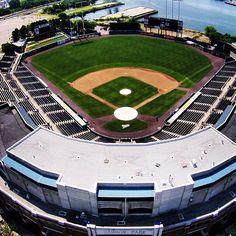Aerial View of Harbor Park, Norfolk, VA. AAA affiliate of the Baltimore Orioles. Norfolk Tides, Harbor Park, Minor League Baseball, Home Again, Baltimore Orioles, Virginia Beach, Aerial View, Baseball Field, Diamonds
