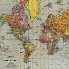 vintage style map of the world poster by cavallini via petite violette | vintage, handmade
