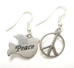 Dove of Peace Earrings Silver Peace Sign Jewelry by luckymejewelry, $9.95