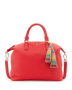 V2P9X Tory Burch Small Slouchy Satchel Bag w/Tassel, Vermillion