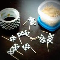 Some duck tape and toothpicks make great mini flags for the racing theme classroom!