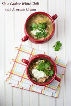 Slow Cooker White Chili with Avocado Cream - comfort food at it's finest!