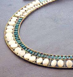 """Ziio+Jolie+Mome+Turquoise+Choker+-+Sterling+silver,+turquoise,+freshwater+pearl+and+mother-of-pearl+and+Murano+glass+beads+Jolie+Mome+choker+necklace,+22""""."""