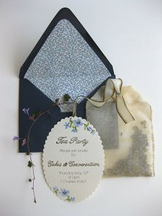 Tea party invitation with a little handmade tea bag included. Who does that?