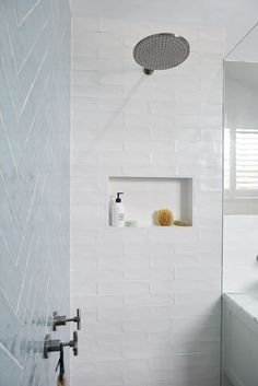 Blue and white simple shower #bluetile #shower #showerpower