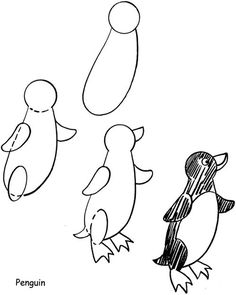 Easy Drawings How to Draw a Penguin from Dover Publications Drawing Lessons For Kids, Drawing Skills, Art Lessons, Doodle Drawings, Easy Drawings, Animal Drawings, Penguin Drawing, Winter Drawings, You Draw