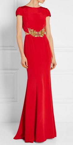 Marchesa Nottte. Embellished stretch-silk gown