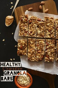 Healthy 5 Ingredient Granola Bars / 1 cup packed dates, pitted (deglet nour or medjool) ¼ cup honey (or sub maple syrup or agave for vegan option) ¼ cup creamy natural peanut butter or almond butter 1 cup roasted unsalted almonds, loosely chopped 1½ cups rolled oats (gluten free for GF eaters) optional additions: chocolate chips, dried fruit, nuts, banana chips, vanilla, etc.