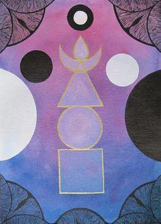 Izabela Ewa Ołdak, Revealed Truth- 5 ELEMENTS, 36x26cm, acrylic, ecoline on paper, 2013