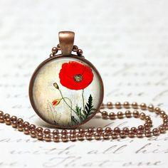 Necklace+vintage+red+poppy++pendant+from+Madame+Butterfly+JEWELLERY+by+DaWanda.com