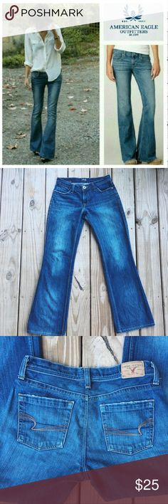 """AEO Hipster Flare Jeans✨ Relaxed fit. Good used condition! These jeans are super chic and will work for just about anything! Love these! Inseam is 30"""". Waist is 14"""". Size 4R. Low-rise. American Eagle Outfitters Jeans Flare & Wide Leg"""